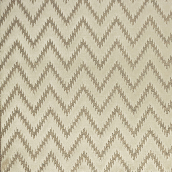 Fabric swatch of a white wool and velvet zig zag fabric for upholstery