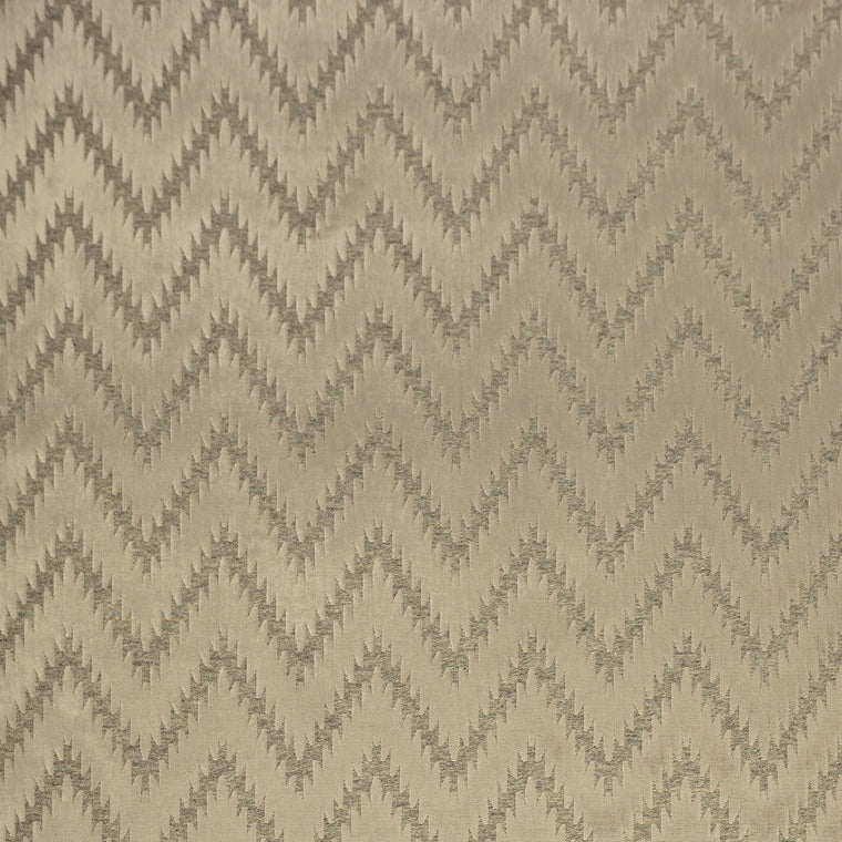 Fabric swatch of a neutral wool and velvet zig zag fabric for upholstery