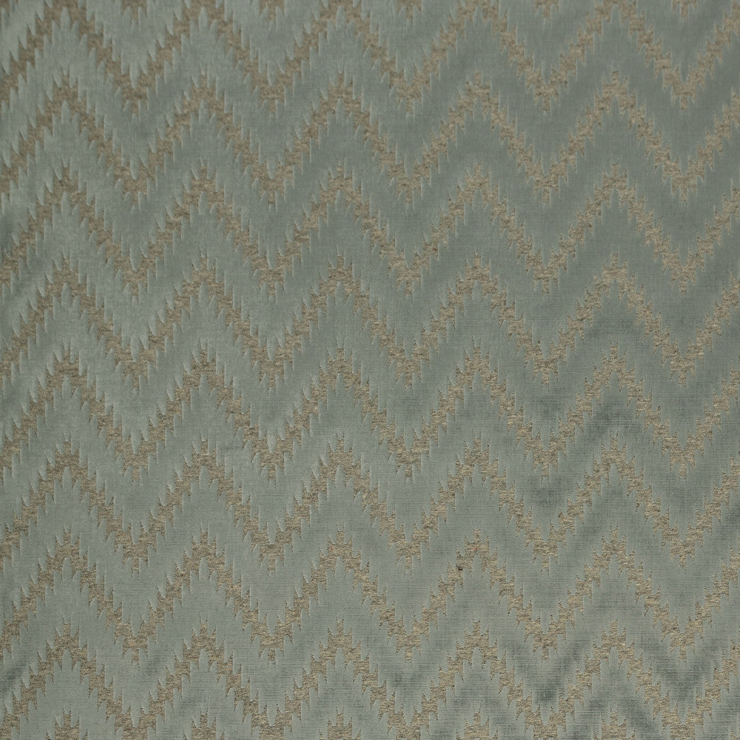 Fabric swatch of a grey wool and velvet zig zag fabric for upholstery