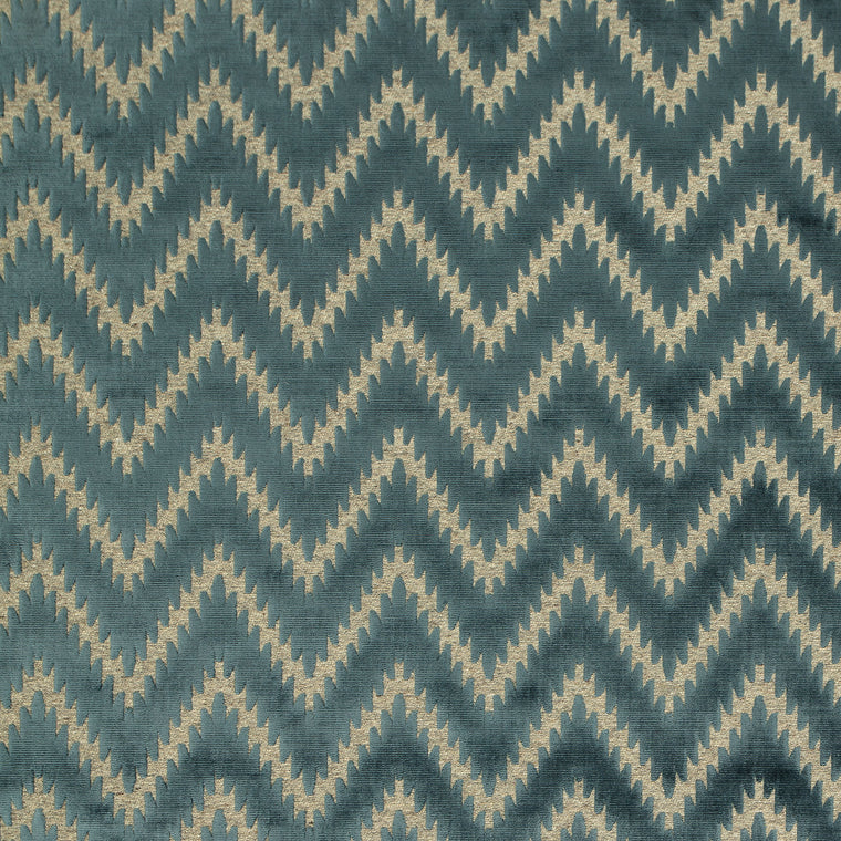 Fabric swatch of a blue wool and velvet zig zag fabric for upholstery