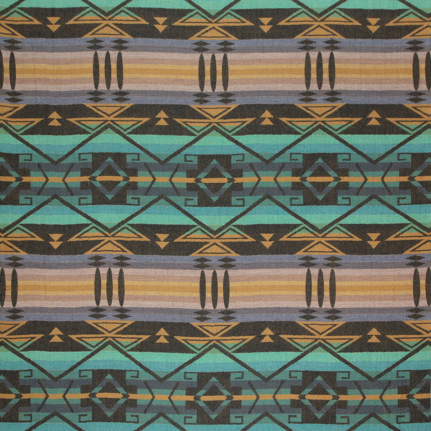 Fabric swatch of a teal and purple coloured wool fabric with a large scale geometric pattern