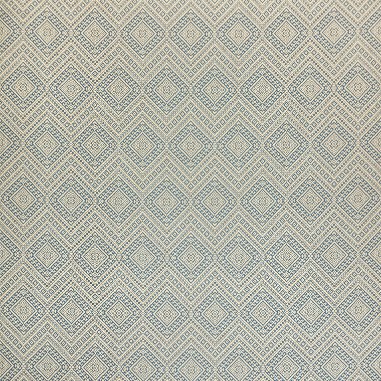Fabric swatch of a light blue wool fabric with diamond design suitable for curtains and upholstery