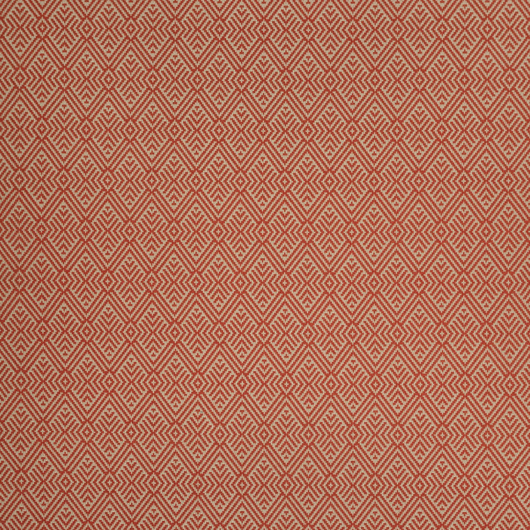 Fabric swatch of a coral geometric wool fabric for curtains and upholstery