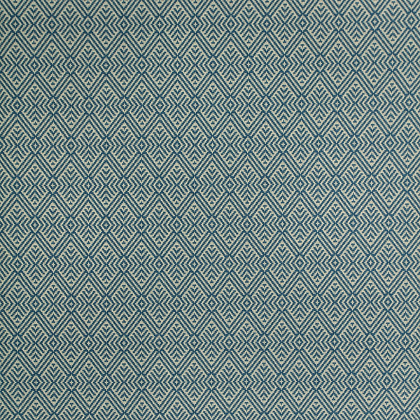 Fabric swatch of a blue geometric wool fabric for curtains and upholstery