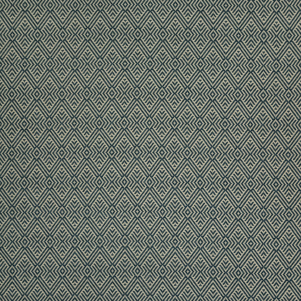 Fabric swatch of a dark blue geometric wool fabric for curtains and upholstery