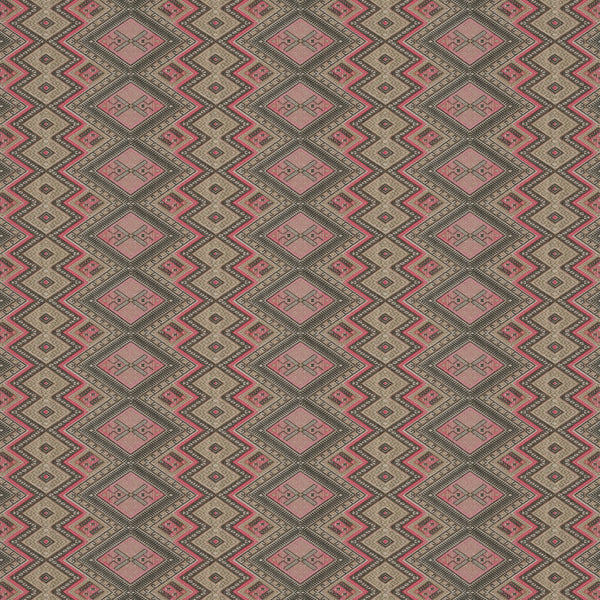 Fabric swatch of a pink coloured geometric weave fabric suitable for curtains and upholstery