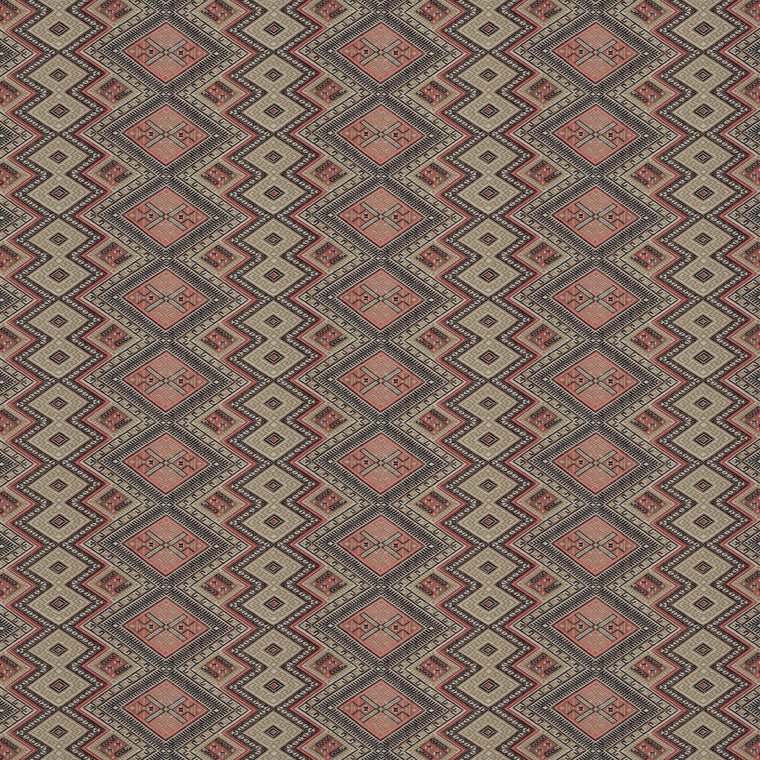 Fabric swatch of a coral coloured geometric weave fabric suitable for curtains and upholstery