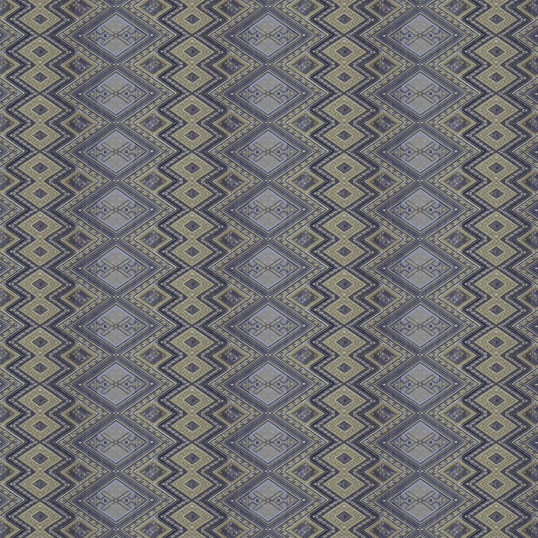 Fabric swatch of a blue coloured geometric weave fabric suitable for curtains and upholstery