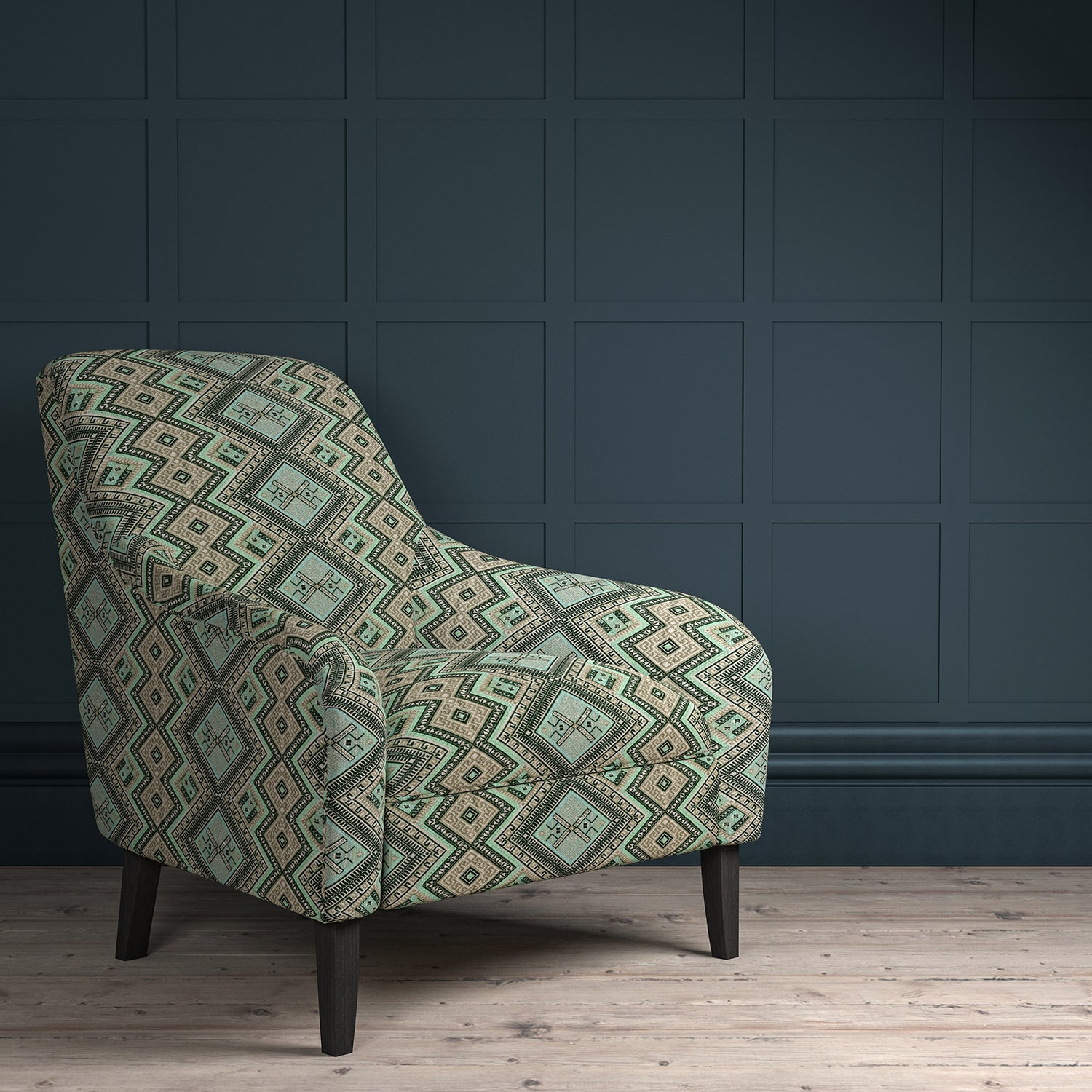 Chair upholstered in a aqua coloured geometric upholstery fabric