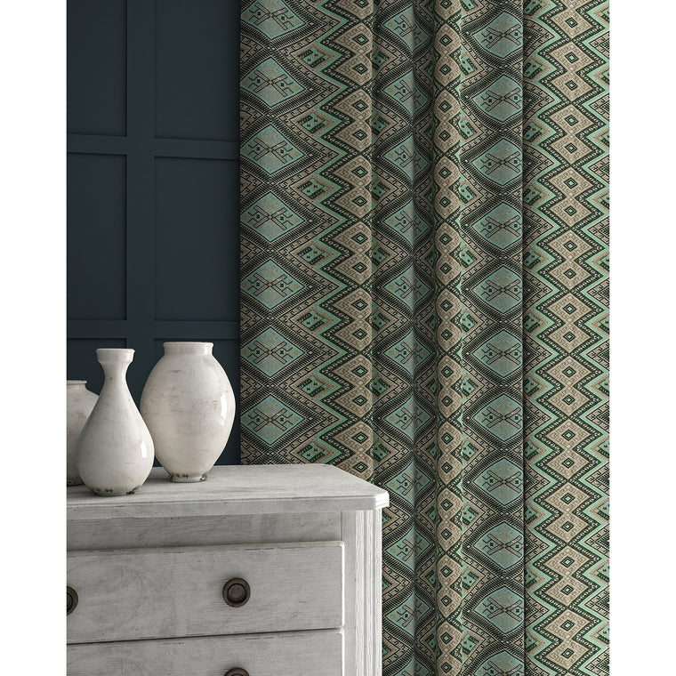 Curtains in a aqua coloured geometric weave fabric