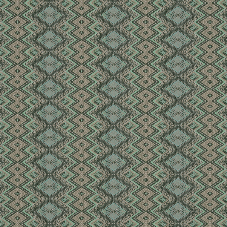Fabric swatch of a aqua coloured geometric weave fabric suitable for curtains and upholstery