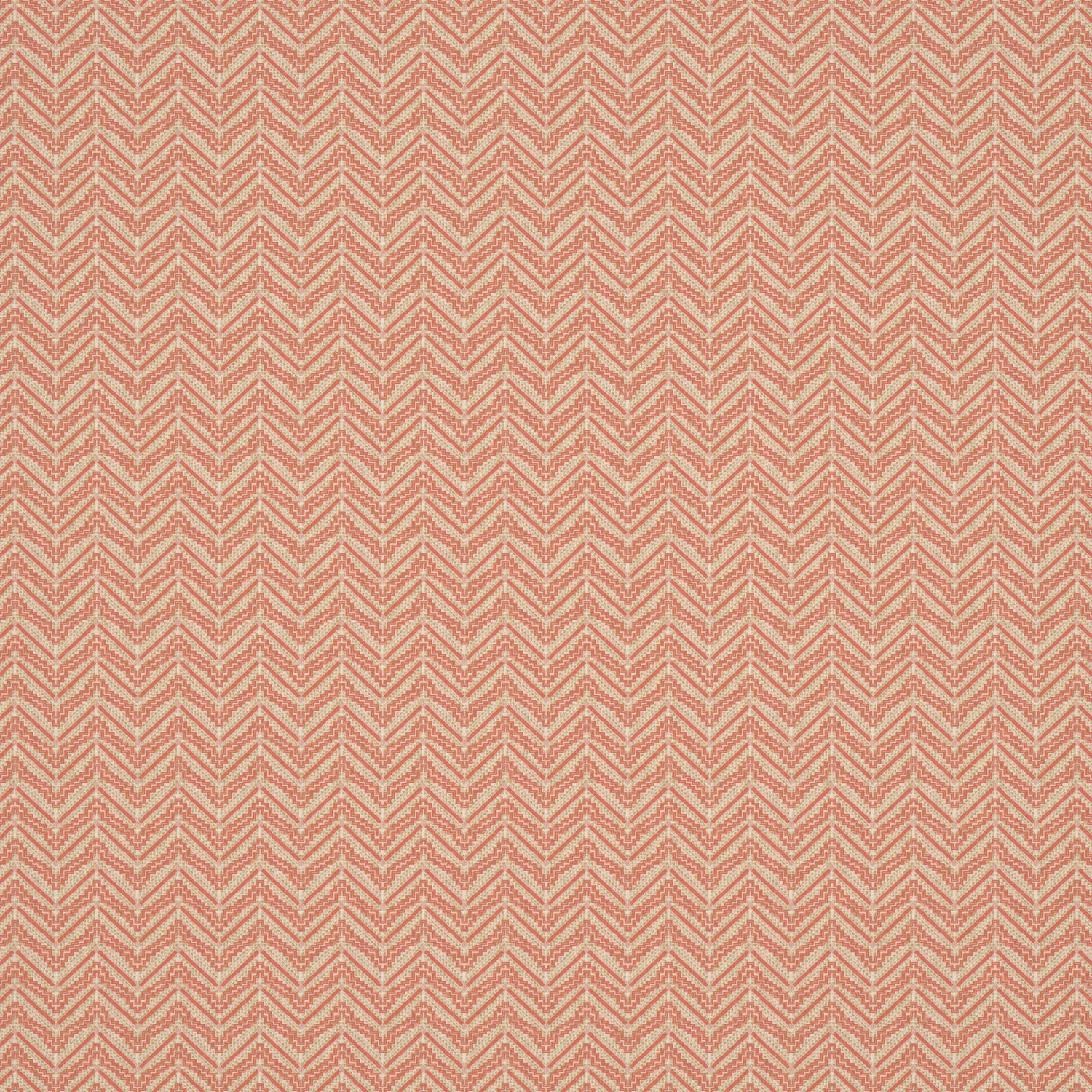 Fabric swatch of a peach coloured zig zag geometric weave fabric suitable for curtains and upholstery
