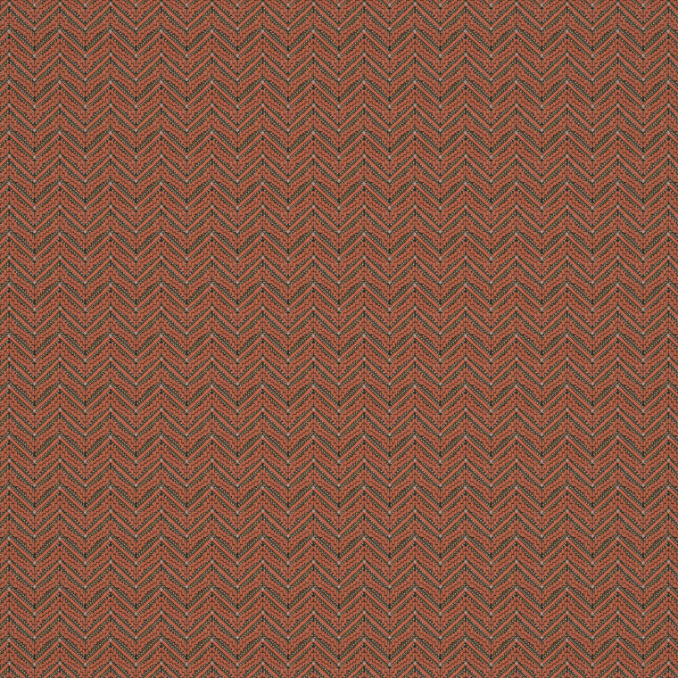 Fabric swatch of a dark orange coloured zig zag geometric weave fabric suitable for curtains and upholstery