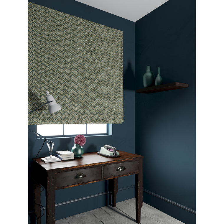 Blind in a dark grey coloured zig zag geometric weave fabric