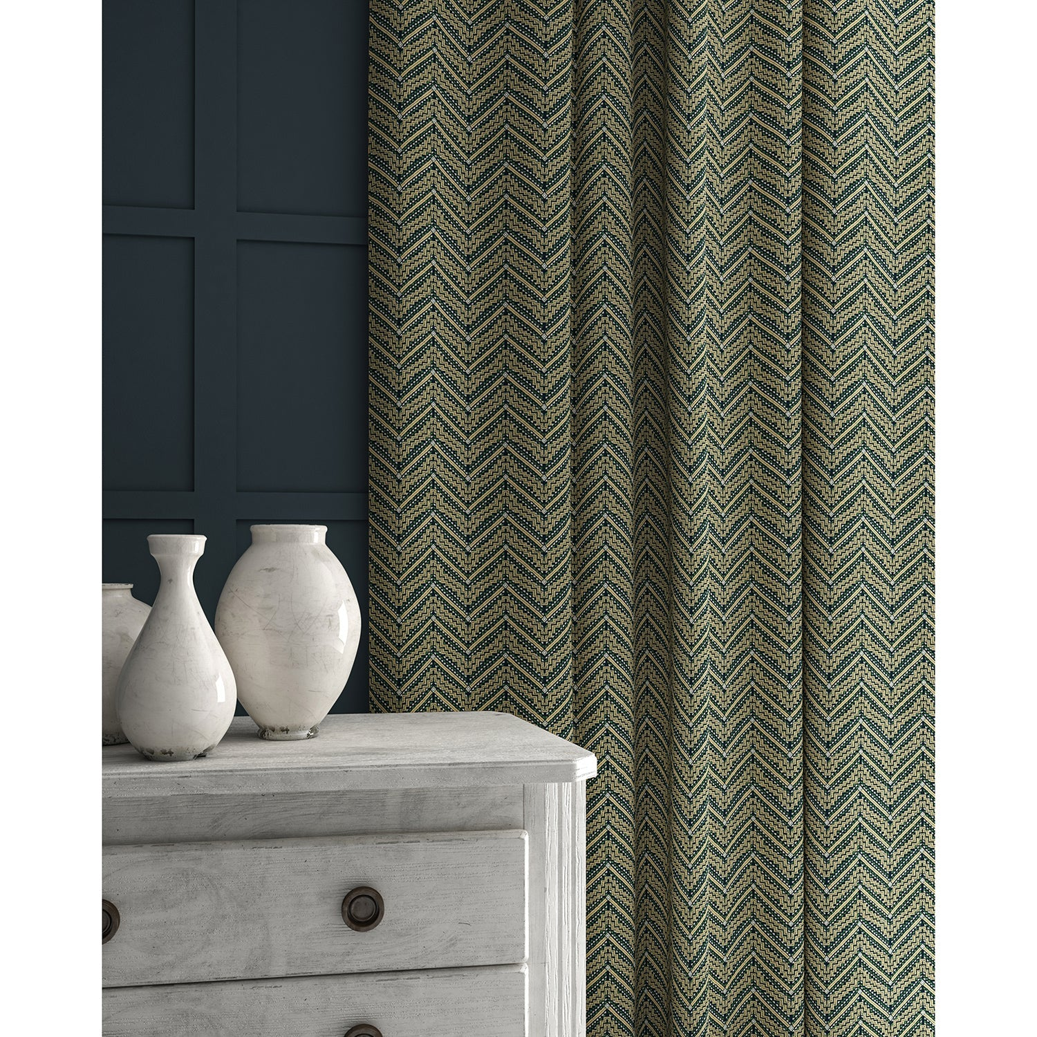 Curtains in a dark grey coloured zig zag geometric weave fabric