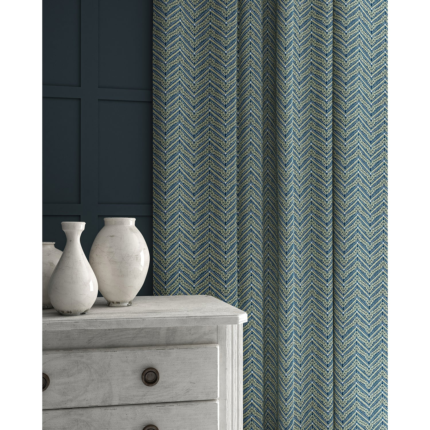 Curtains in a dark blue coloured zig zag geometric weave fabric