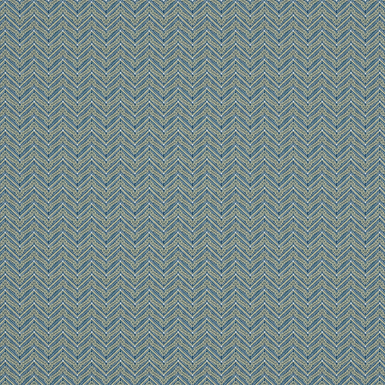 Fabric swatch of a dark blue coloured zig zag geometric weave fabric suitable for curtains and upholstery