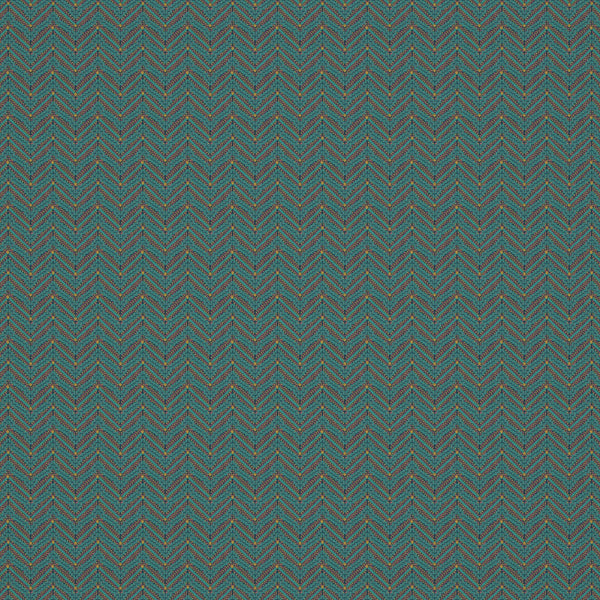 Fabric swatch of a teal coloured zig zag geometric weave fabric suitable for curtains and upholstery