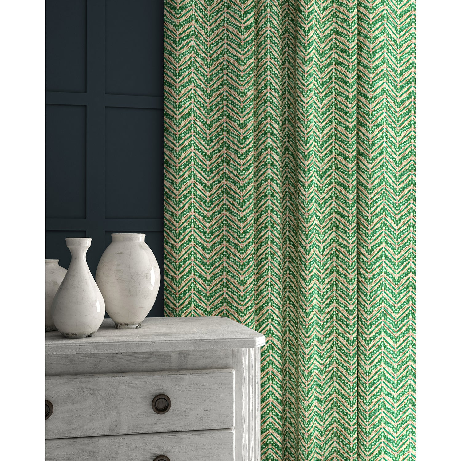 Curtains in a bright green coloured zig zag geometric weave fabric