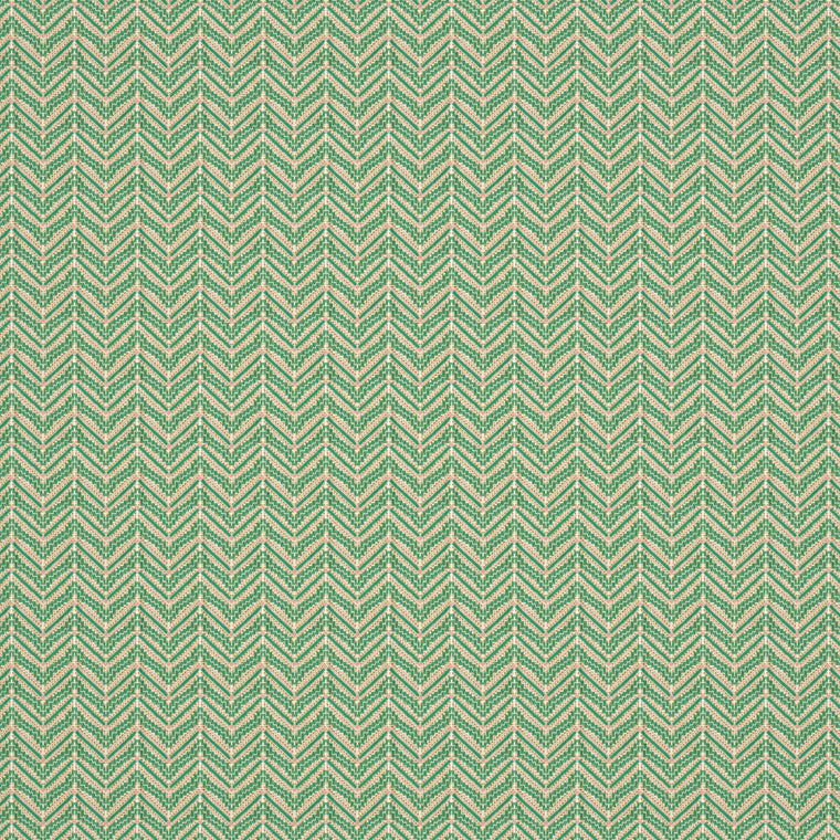 Fabric swatch of a bright green coloured zig zag geometric weave fabric suitable for curtains and upholstery