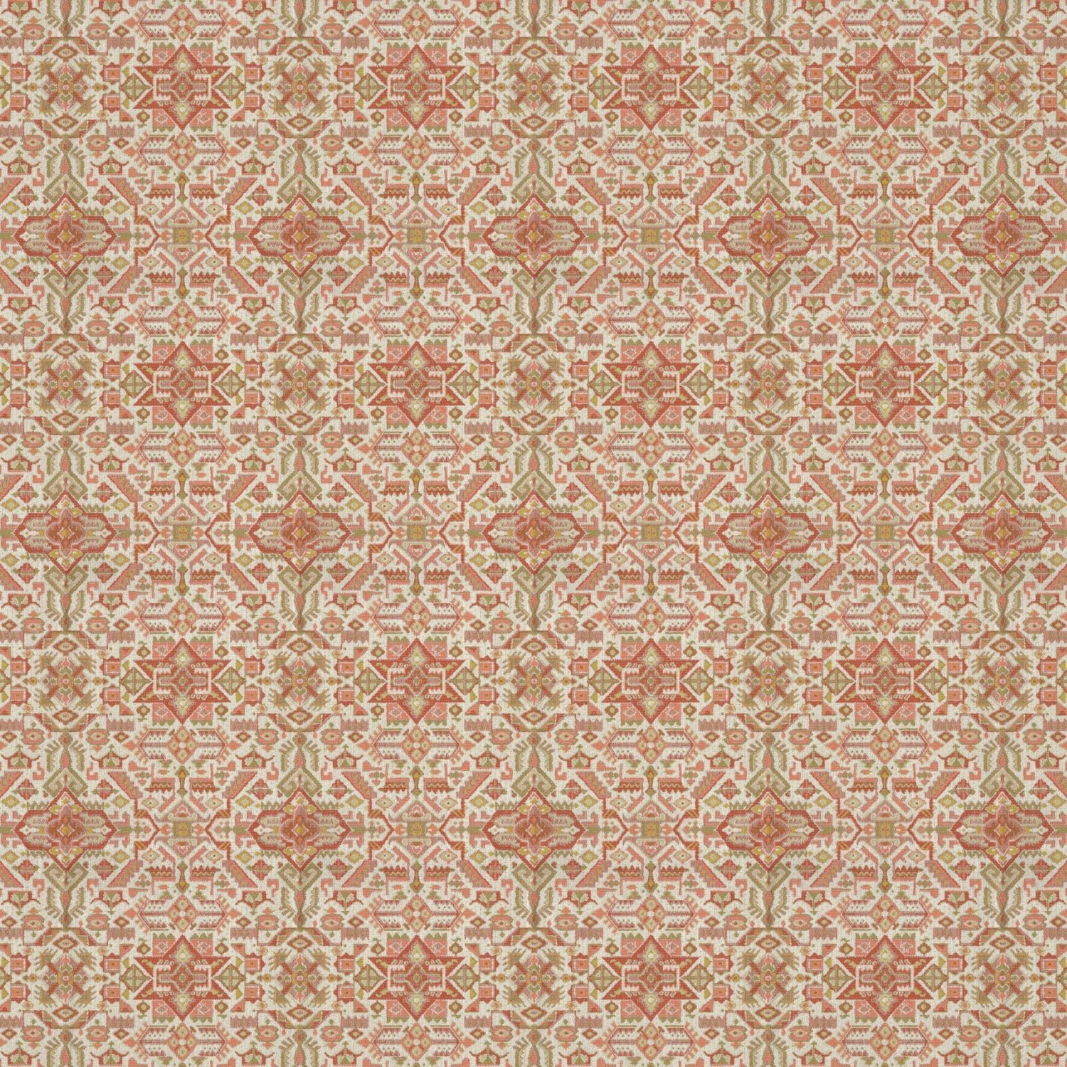 Fabric swatch of a orange and neutral coloured large scale geometric weave fabric suitable upholstery