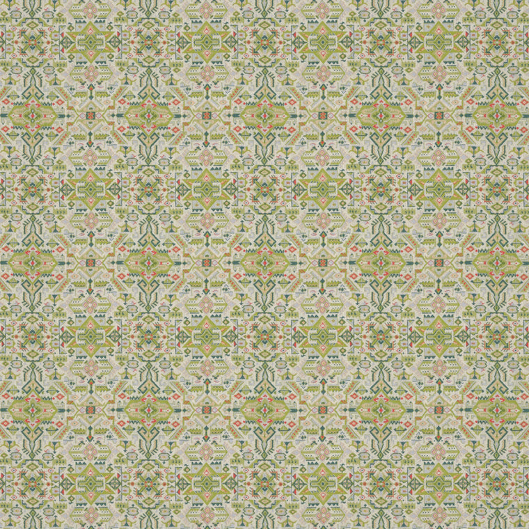 Fabric swatch of a green and light neutral coloured large scale geometric weave fabric suitable upholstery