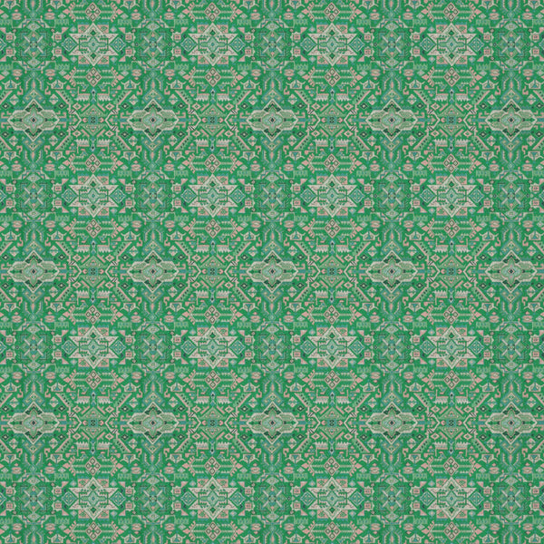 Fabric swatch of a green and pink coloured large scale geometric weave fabric suitable upholstery