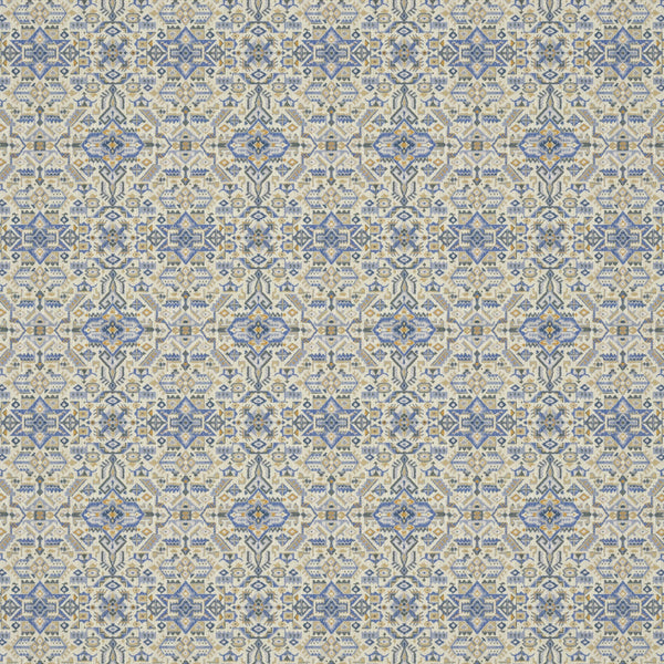 Fabric swatch of a blue and neutral coloured large scale geometric weave fabric suitable upholstery
