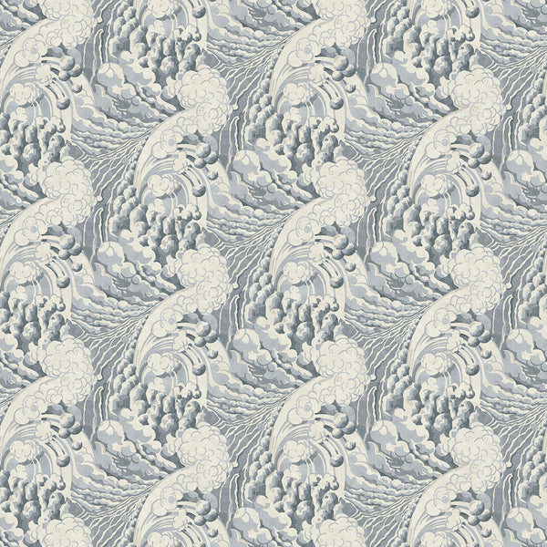 Fabric swatch of a grey velvet fabric with wave design, suitable for curtains and upholstery and with a stain resistant finish