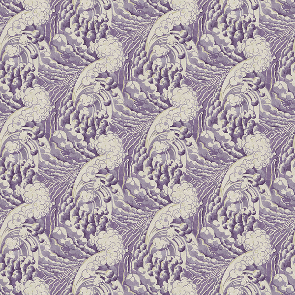 Fabric swatch of a purple velvet fabric with wave design, suitable for curtains and upholstery and with a stain resistant finish