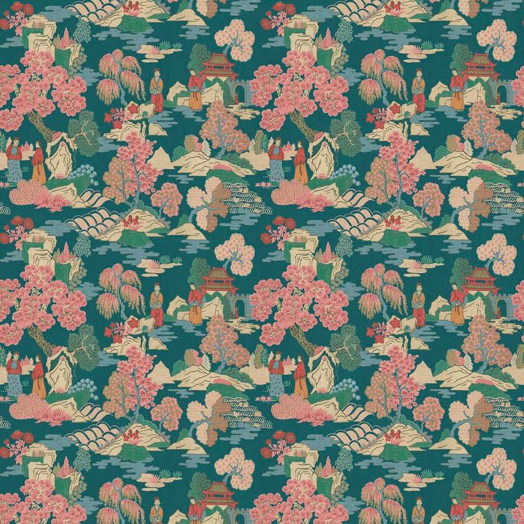 Fabric swatch of a blue and pink oriental inspired design on a velvet fabric suitable for curtains and upholstery with a stain resistant finish