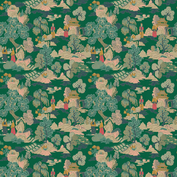 Fabric swatch of a green toned oriental inspired design on a velvet fabric suitable for curtains and upholstery with a stain resistant finish