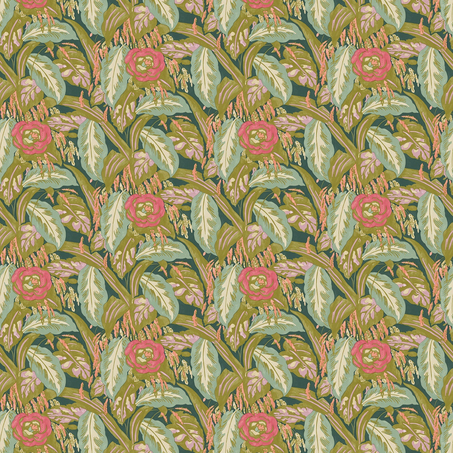 Fabric swatch of a floral velvet fabric with olive green and turquoise colours, suitable for curtains and upholstery and with a stain resistant finish