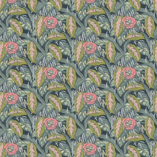 Fabric swatch of a floral velvet fabric with pink and ochre colours, suitable for curtains and upholstery and with a stain resistant finish