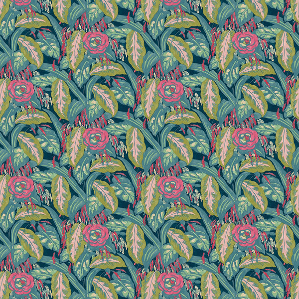 Fabric swatch of a floral velvet fabric with pink and turquoise colours, suitable for curtains and upholstery and with a stain resistant finish