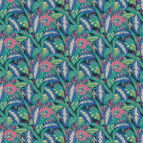 Fabric swatch of a floral velvet fabric with purple and turquoise colours, suitable for curtains and upholstery and with a stain resistant finish