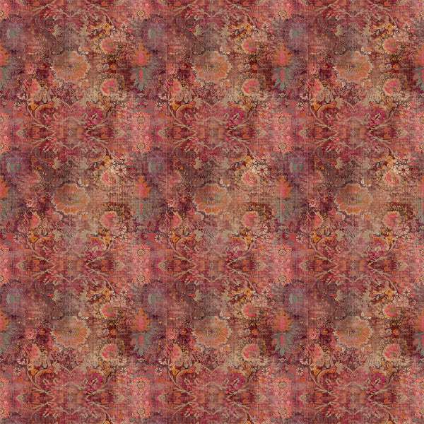Fabric swatch of a terracotta velvet fabric with a Moroccan inspired design for curtains and upholstery with a stain resistant finish