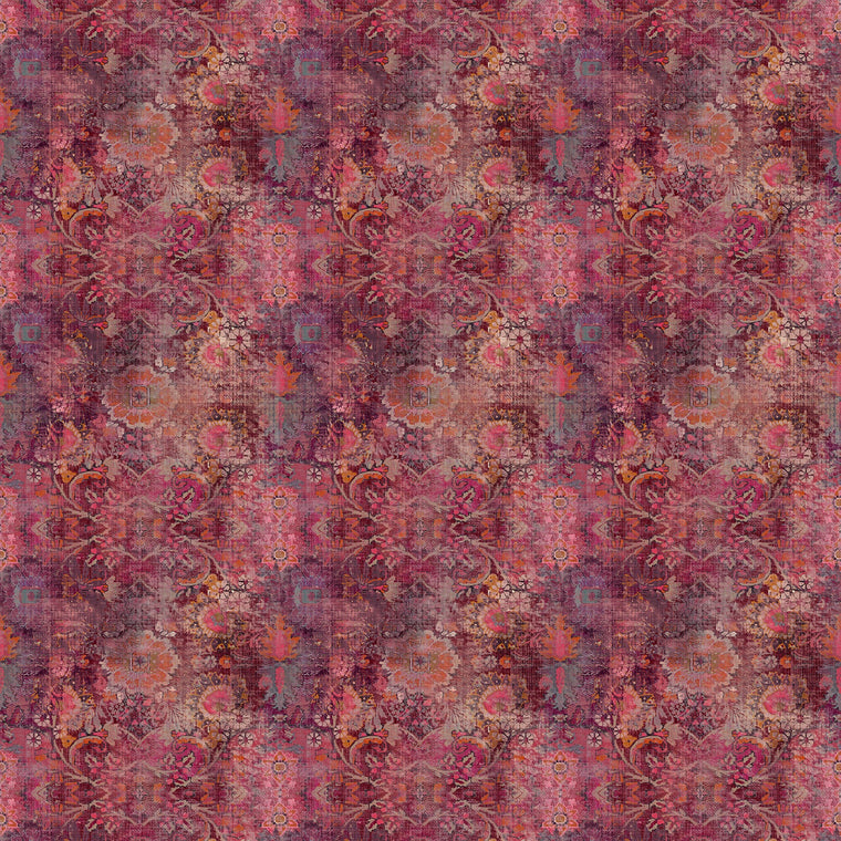 Fabric swatch of a pink velvet fabric with a Moroccan inspired design for curtains and upholstery with a stain resistant finish