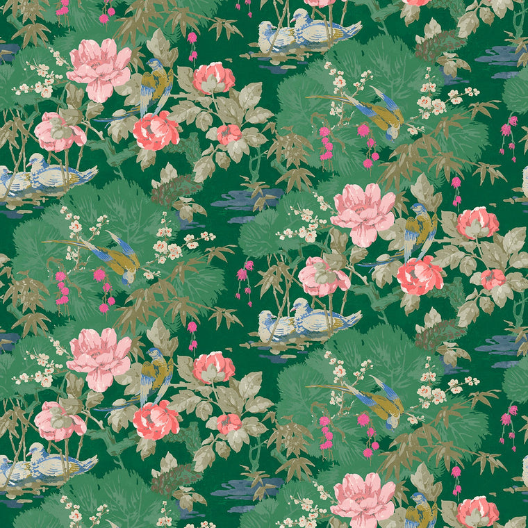 Fabric swatch of a velvet fabric with green background and colourful bird and floral design - suitable for curtains and upholstery
