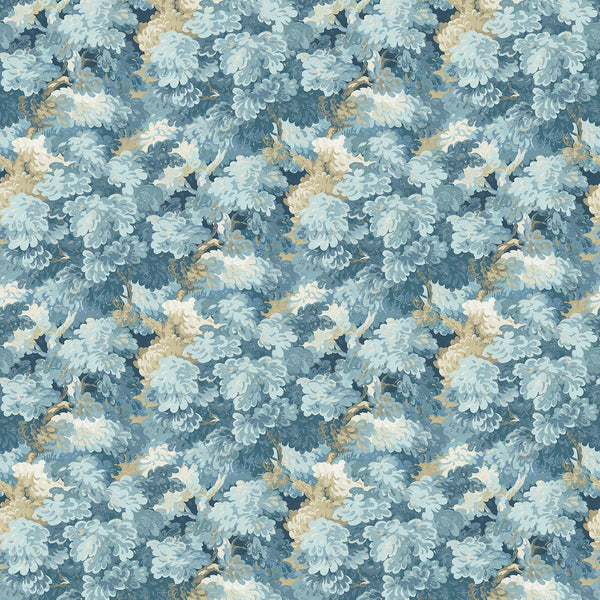 Fabric swatch of a blue velvet fabric with leaf design, suitable for curtains and upholstery and with a stain resistant finish