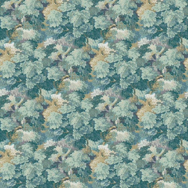 Fabric swatch of a teal velvet fabric with leaf design, suitable for curtains and upholstery and with a stain resistant finish