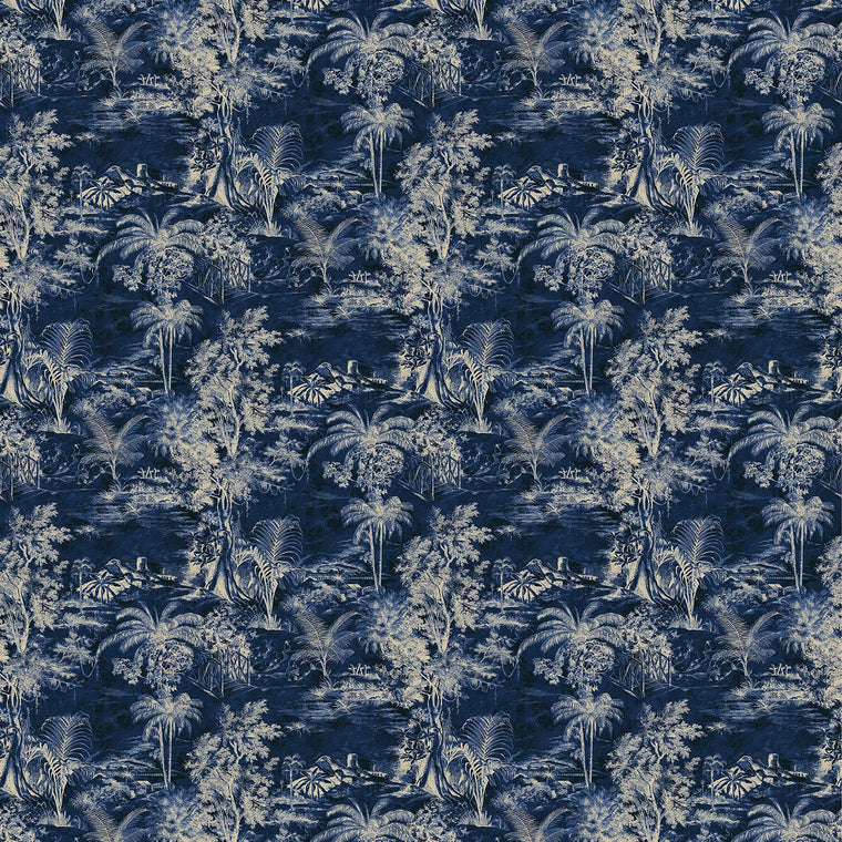 Fabric swatch of a indigo blue velvet with light palm tree design, suitable for curtains and upholstery and with a stain resistant finish