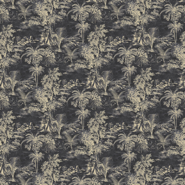 Fabric swatch of a smokey grey velvet with light palm tree design, suitable for curtains and upholstery and with a stain resistant finish