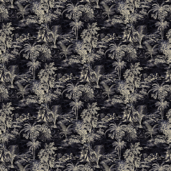 Fabric swatch of a dark black velvet with light palm tree design, suitable for curtains and upholstery and with a stain resistant finish