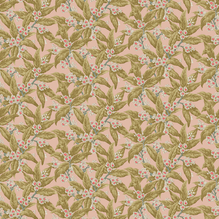 Fabric swatch of a light pink velvet fabric with ochre leaves and pretty flowers, suitable for curtains and upholstery and with a stain resistant finish