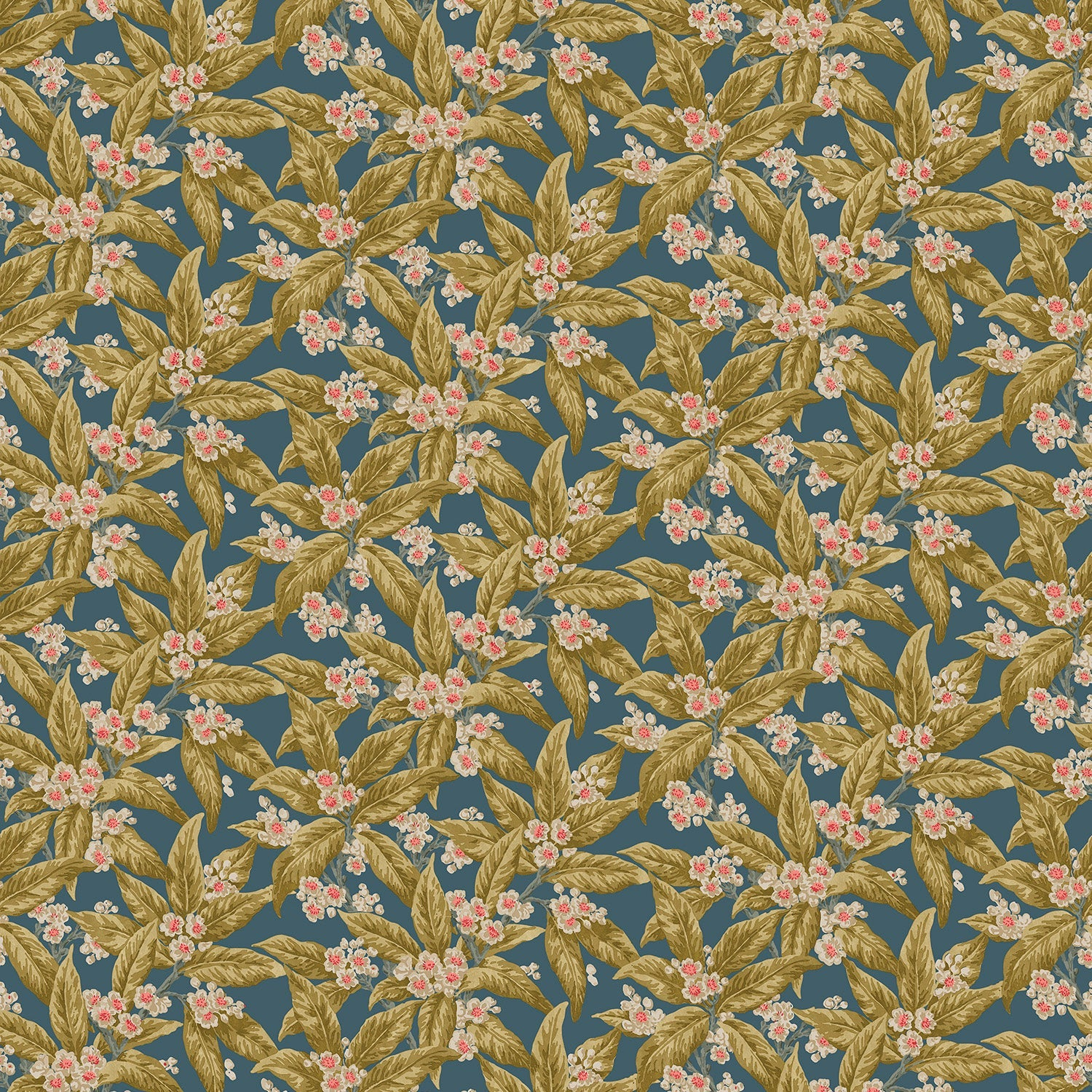 Fabric swatch of a dark blue velvet fabric with ochre leaves and pretty flowers, suitable for curtains and upholstery and with a stain resistant finish