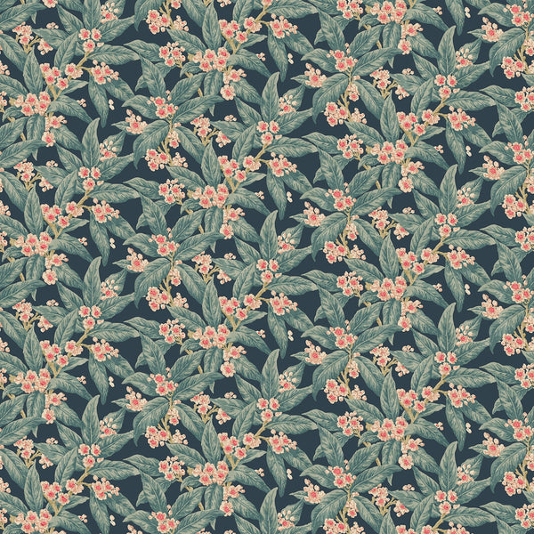 Fabric swatch of a dark blue velvet fabric with blue leaves and pretty flowers, suitable for curtains and upholstery and with a stain resistant finish