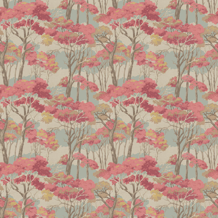 Fabric swatch of a light neutral velvet fabric for curtains and upholstery with a pink tree design