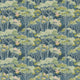 Fabric swatch of a dark blue velvet fabric for curtains and upholstery with a green tree design
