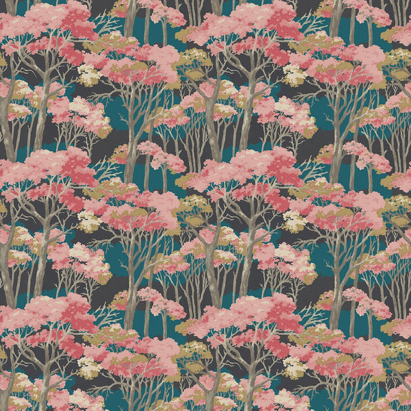 Fabric swatch of a dark grey and blue velvet fabric for curtains and upholstery with a pink tree design